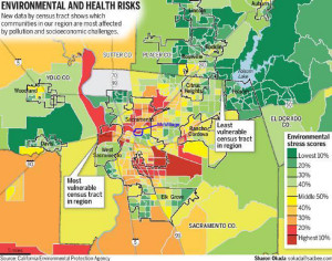 McKinley Village is circled in blue. It's environmental stress score is in the highest 20%.