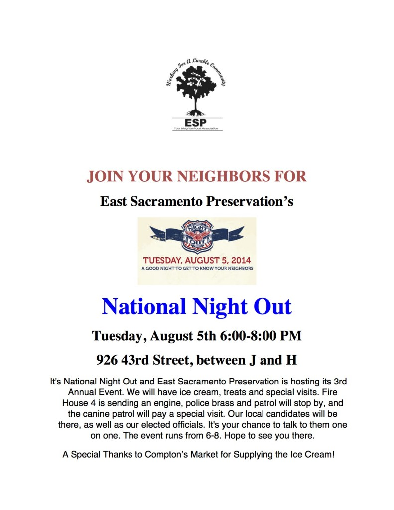How to participate in National Night Out in East Sacramento