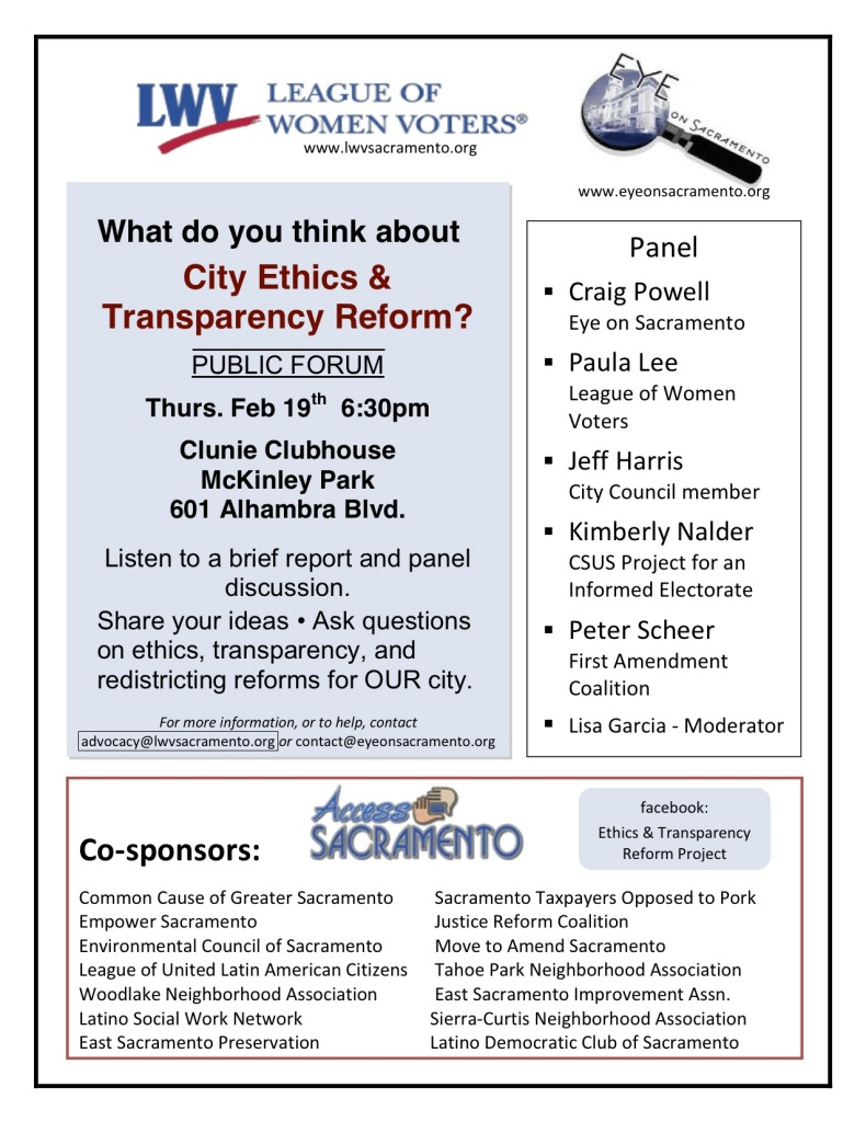 Ethics and Transparency in Sacramento Politics