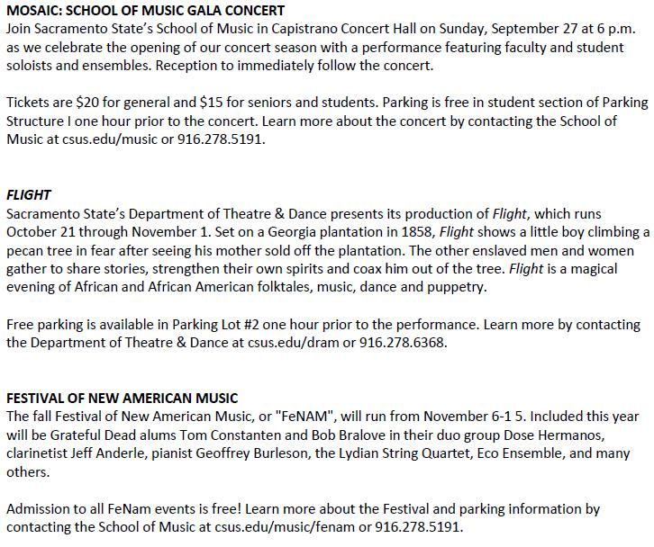 Sac State Arts Events